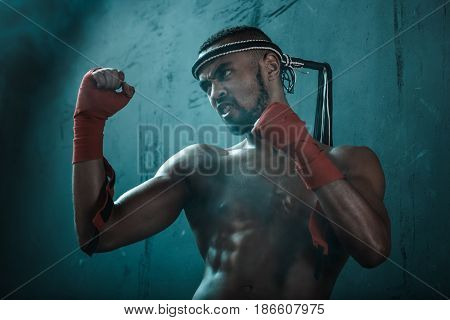 Aggressive Young Muay Thai Boxer Training Thai Boxing, Ultimate Fight Concept