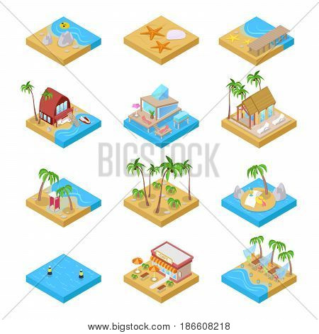 Beach Vacation Collection with Bungalow, Boat and Palm Trees. Tropical Resort. Isometric vector flat 3d illustration