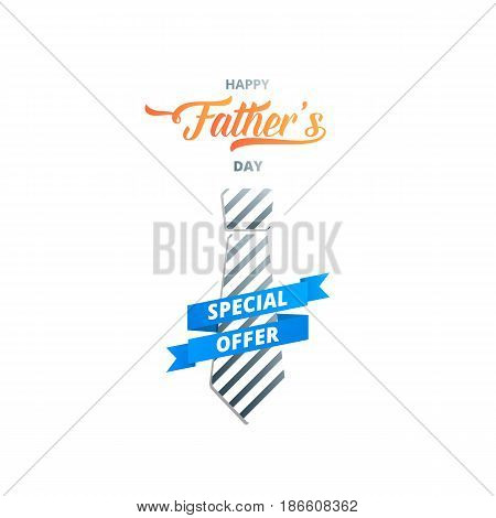 Fathers Day. Banner for holiday sale, discount, ad etc. Trendy typography and striped tie.