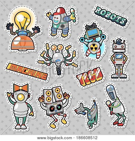 Cartoon Robots and Mechanic Machines Doodle. Vector Stickers, Badges and Patches