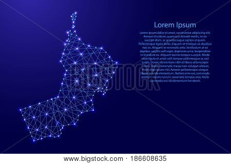 Map of Oman from polygonal blue lines and glowing stars vector illustration