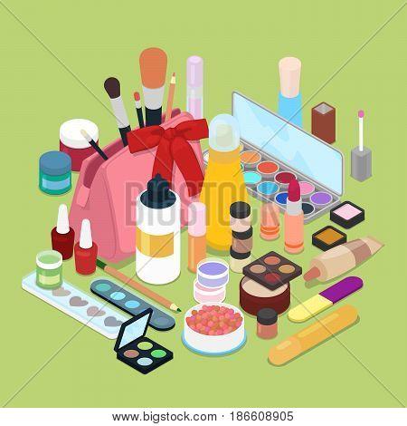 Female Cosmetics Make-Up Set with Powder, Eyeshadow and Lipstick. Isometric vector flat 3d illustration