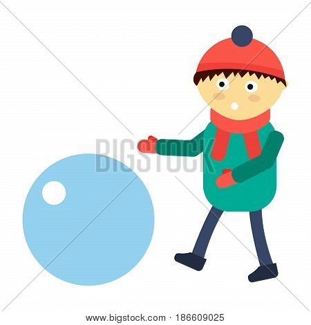 Portrait fun happy boy young expression cute teenager play winter games character and happyness little kid flat human cheerful childhood life vector illustration. Adorable preschooler male.