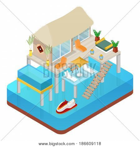 Tropical Bungalow with Jet Ski. Beach Real Estate. Isometric vector flat 3d illustration