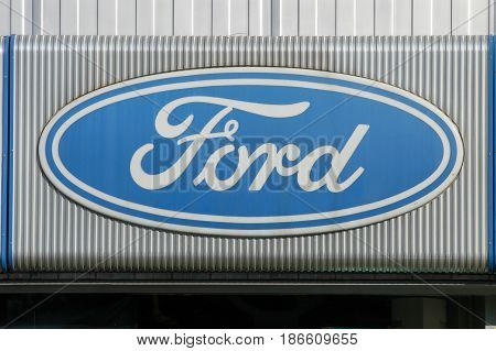 Logo Sign Of Ford Car Dealer