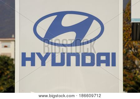 Logo Sign Of Hyundai Car Dealer
