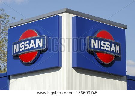 Logo Sign Of Nissan Car Dealer