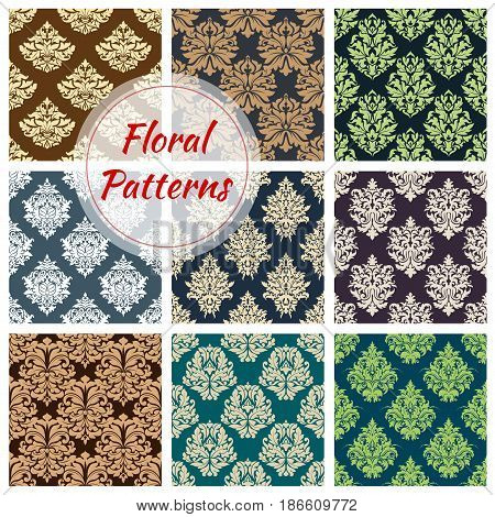 Seamless floral pattern set. Damask floral ornament of flower composition with victorian motif of ornate flower and leaf. Vintage background for wallpaper, textile of fabric accessory