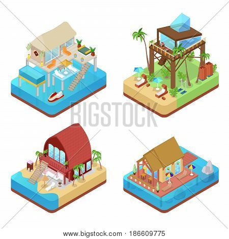 Tropical Bungalows with Palm Trees. Beach Real Estate. Isometric vector flat 3d illustration
