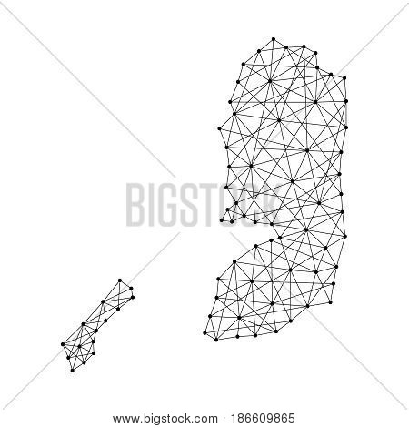 Map of Palestine from polygonal black lines and dots of vector illustration