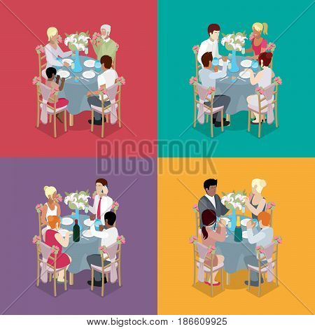 Family Party Celebration. Guests are celebrating at tables. Isometric vector flat 3d illustration