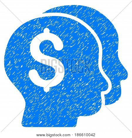 Grunge Bankers icon with grunge design and unclean texture. Unclean vector blue pictogram for rubber seal stamp imitations and watermarks. Draft sign symbol.