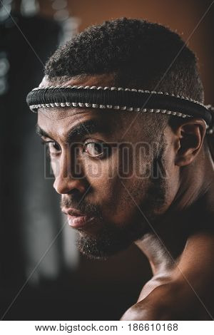 Portrait Of Confident Muay Thai Fighter With Mongkhon On Head