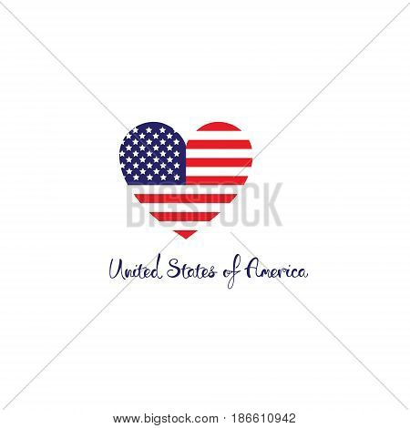 United States of America concept. Red white blue flag with stripes heart shape isolated