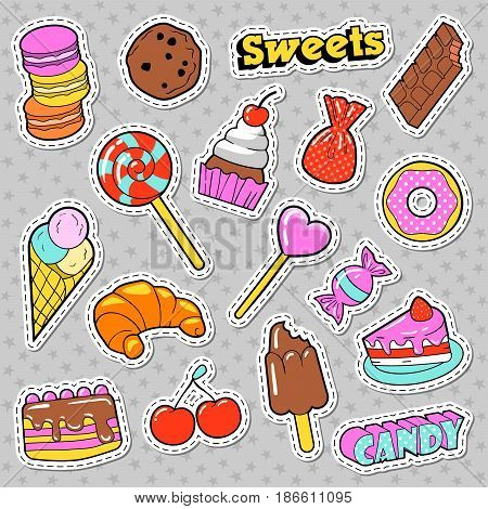 Sweets and Bakery Doodle. Candies, Ice Cream and Macaroon. Vector badges, patches and stickers