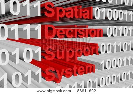 Spatial decision support system in the form of binary code, 3D illustration