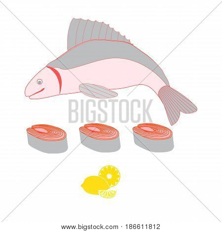 Colorful Illustration Of A Whole Fish And Cut Into Pieces And Lemon