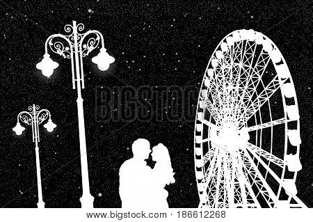 Lovers in amusement park at night. Vector illustration with silhouette of loving couple under starry sky. Vintage lampposts and Ferris wheel. Black and White