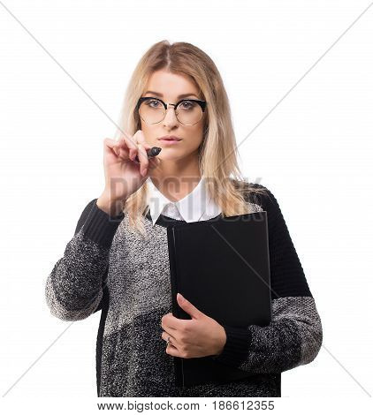 Smart modern business woman with marker and documentation drawing isolated on white.