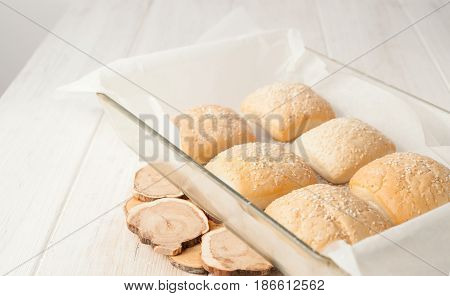 Cooked Buns With Sesame Seeds In The Baking Pan
