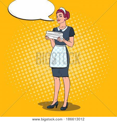 Female Chambermaid Holding Clean Towels. Hotel Maid Service. Pop Art vector illustration