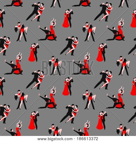 Couples dancing tango latin american romantic boy and girl couples seamless pattern.