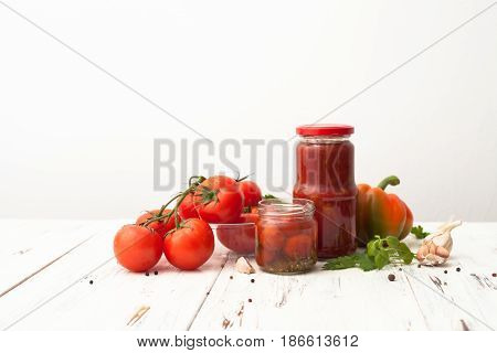 Recipes For Tomatoes In Jars On White