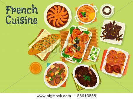 French cuisine festive dinner menu icon of baguette baked with garlic oil, chicken with tomato, meat vegetable stew, baked lamb, cake chocolate log, duck confit, apple pie, creme brulee dessert
