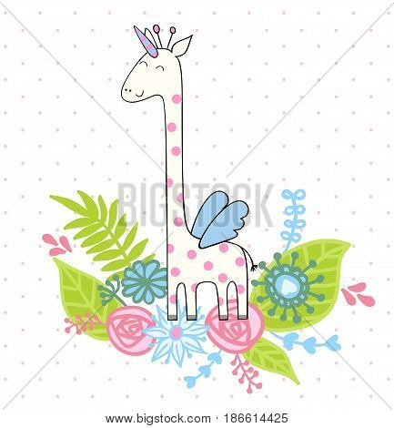 Magic cute giraffe with flowers. Vector greeting card.