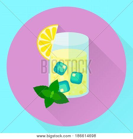 Vector Flat Icon Lemon Mint Cocktail, Glass, Ice