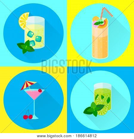 Set Vector Flat Icons, Cocktails, Mint, Lime, Peach, Ice Cream,