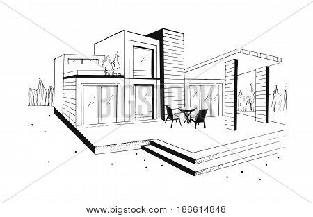 Hand drawn villa. modern private residential house. black and white sketch illustration