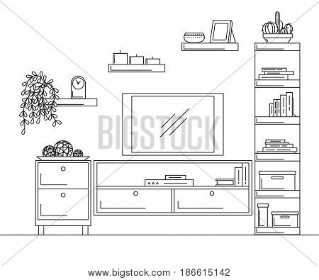 Linear sketch of the interior. Bookcase dresser with TV and shelves. Vector illustration