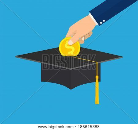 hand put gold coin in graduation cap. education savings and investment concept on blue background. vector illustration in flat design.