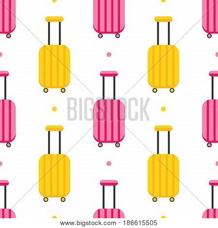 Flat design seamless pattern background with colorful luggage, suitcases.