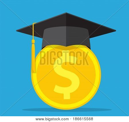 investment in education concept. Conception of education fee, education expenses, school tuition cost, graduation cap with coin. vector illustration in flat style