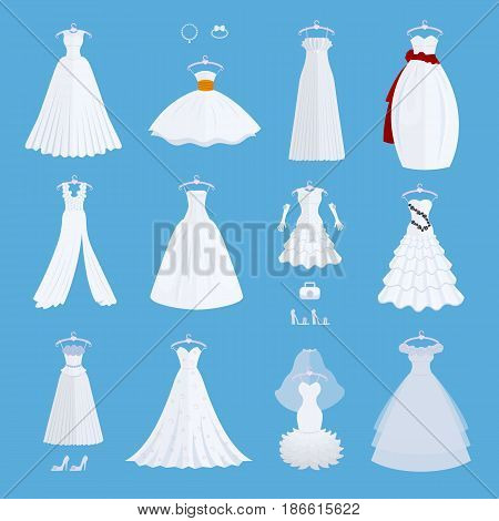 Wedding bride dress elegance style celebration vector illustration isolated on background. Fashion bride design made in modern accessories silhouette. Holiday vector bridal shower composition.