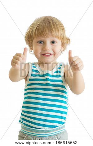 Portrait of beautiful child boy giving you thumbs up isolated on white background