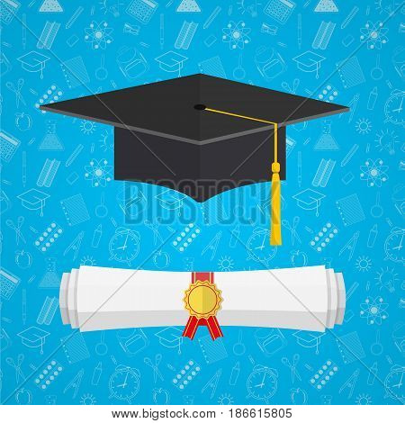 University student cap mortar board and diploma with official stamp on education icons background. vector illustration in flat style