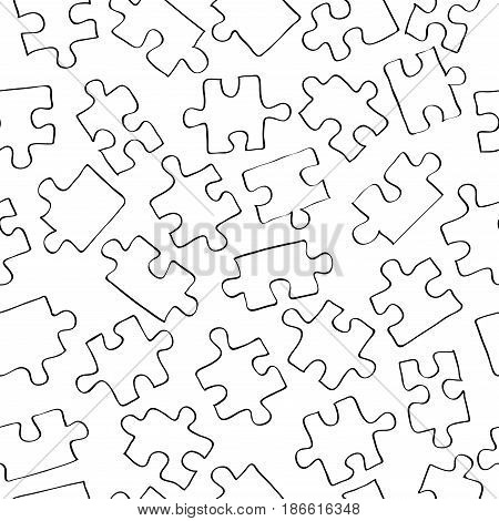 Seamless vector background with black contour puzzle elements on white background / endless wallpaper with figures
