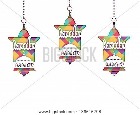 Ramadan Kareem The inscription. Mosaic. Three lanterns in oriental style hang on chains. Cut out the paper on a white background. Vector illustration