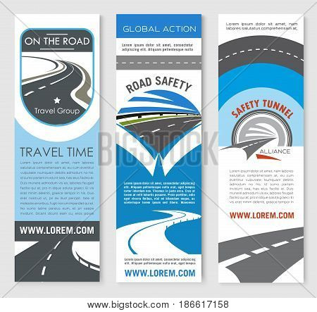 Road highway banner template set. Asphalt highway, road tunnel and speedy freeway symbol with text layouts for travel and car trip web banner, transport services and traffic safety themes design