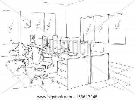 Open Space office. Workplaces outdoors. Tables chairs and windows. Vector illustration in a sketch style.