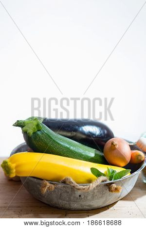 Fresh various vegetables for garnish soups gastronomic dishes in the garden harvest