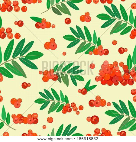 Vector color composition of leaves twigs and ripe rowan. For background, wallpaper, packaging, textiles, fabrics.