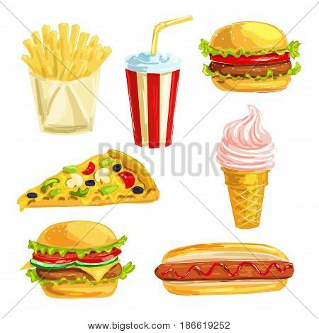 Fast food lunch meal with dessert hand drawn watercolor set. Hamburger, hot dog, cheese pizza slice, sweet soda drink, cheeseburger, french fries and ice cream cone for fast food snacks menu design