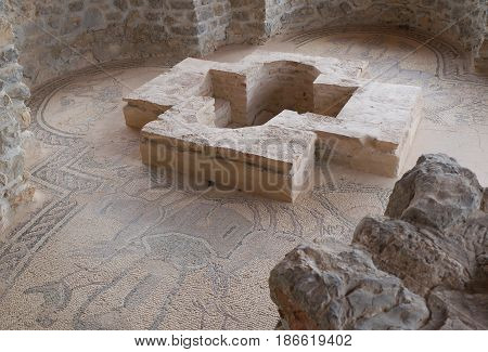 Baptistery in the ruins in Stobi archaeological site