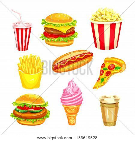 Fast food and drinks watercolor illustration set. Hamburger, cheeseburger, hot dog, coffee and soda cups, pizza, french fries, ice cream cone and popcorn takeaway dishes for restaurant menu design