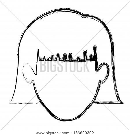 monochrome blurred silhouette of faceless woman with short hair with bangs vector illustration