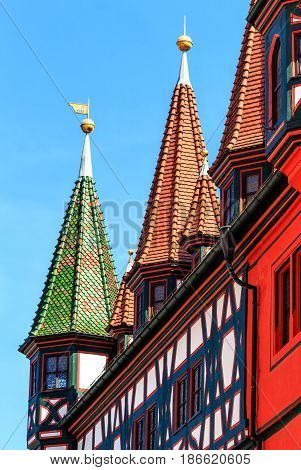 Half-timbered picturesque Old town Hall (1531-1782) in Fulda, Germany
